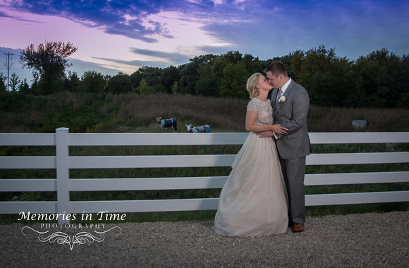A Wedding Couples poses against a beautiful fall evening sky in this formal wedding portrait