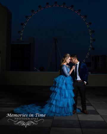 A dramatic engagement image taken above the Vegas Strip
