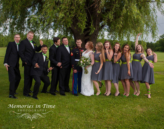 A fun picture of the wedding party laughing