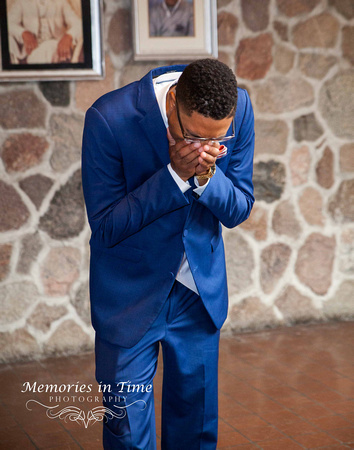 A groom's reaction to seeing his new bride for the first time