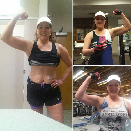 Three images of a fit over 50 woman flexing