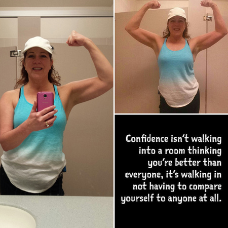 Flexing in Blue and a quote about self confidence