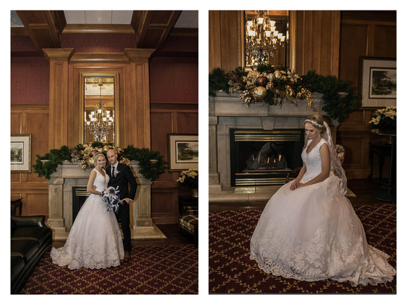 Two formal bridal portraits in front of a fireplace