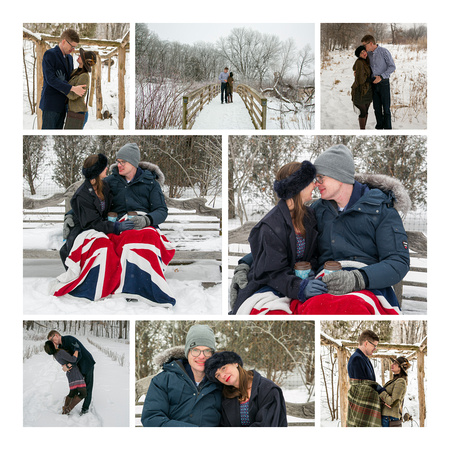 Snowy Winter Engagement pictures with the British Flag